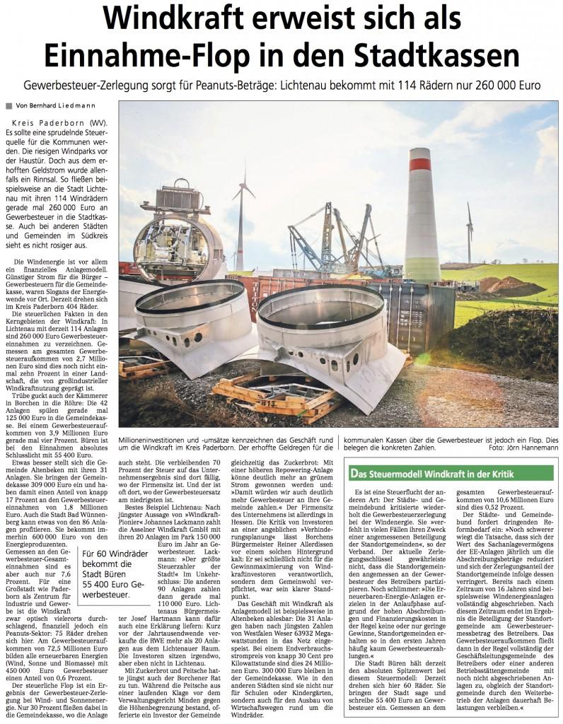 2016_02_12 WV Windkraft erweist sich als Einnahme Flop in den Stadtkassen